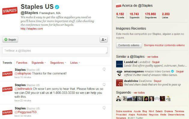 twitter staples Cómo mejorar un servicio de atención al cliente a través de Facebook o Twitter