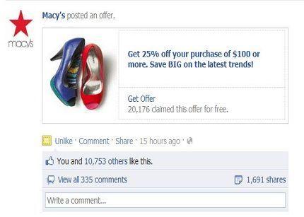Facebook Offers se hace de pago