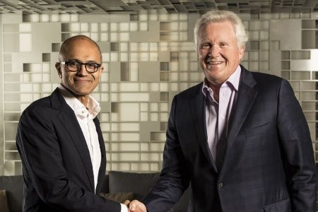 Satya Nadella, CEO De Microsoft y Jeff Immelt, CEO de GE